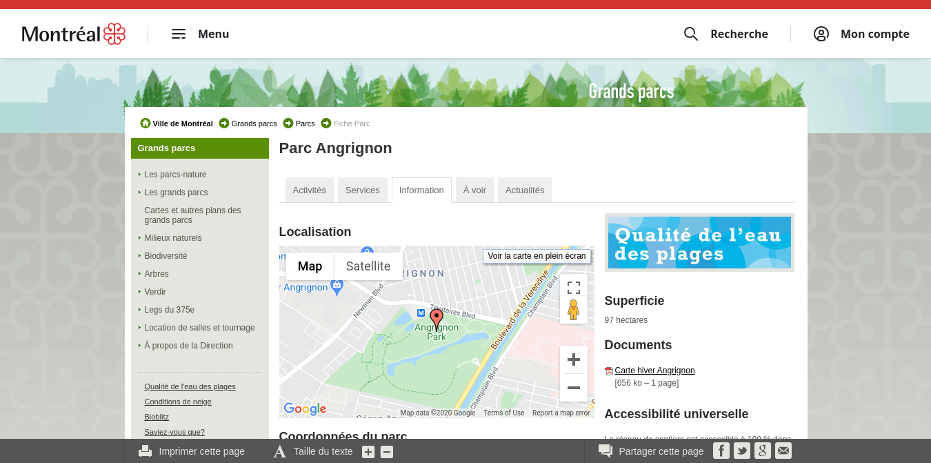Angrignon Park Website
