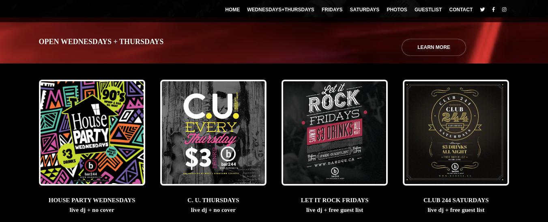 Bar 244 Website