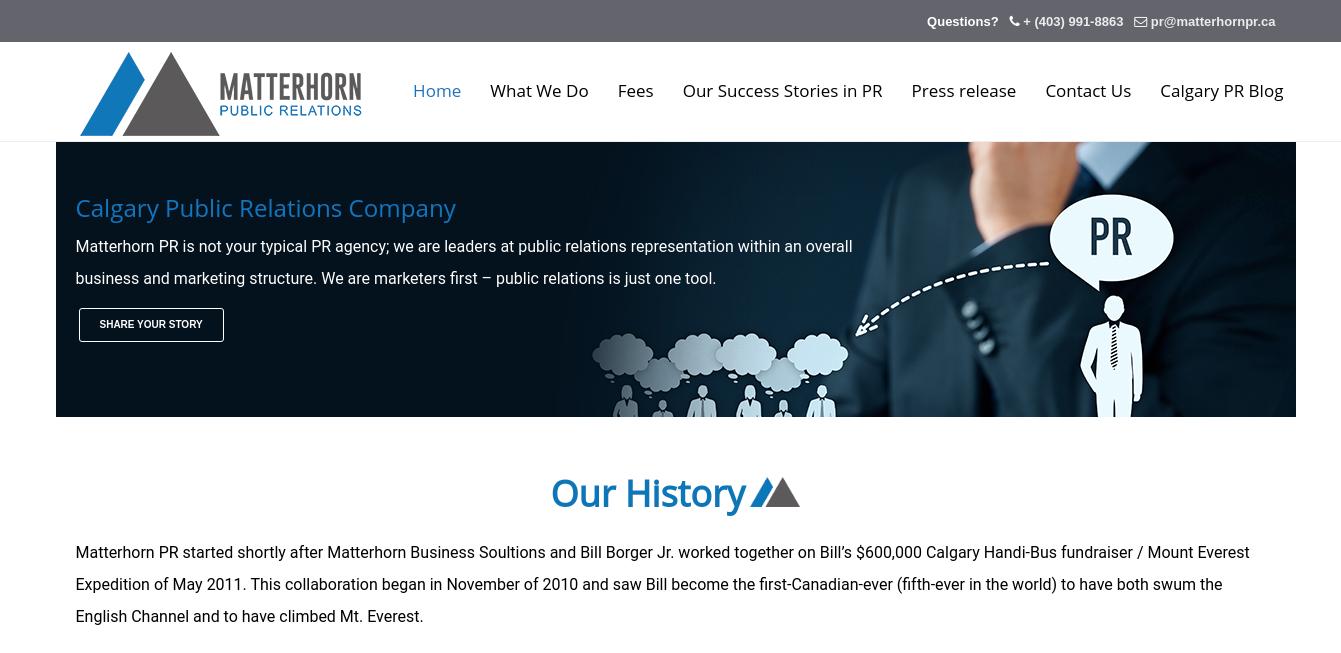 Matterhorn Public Relations Website