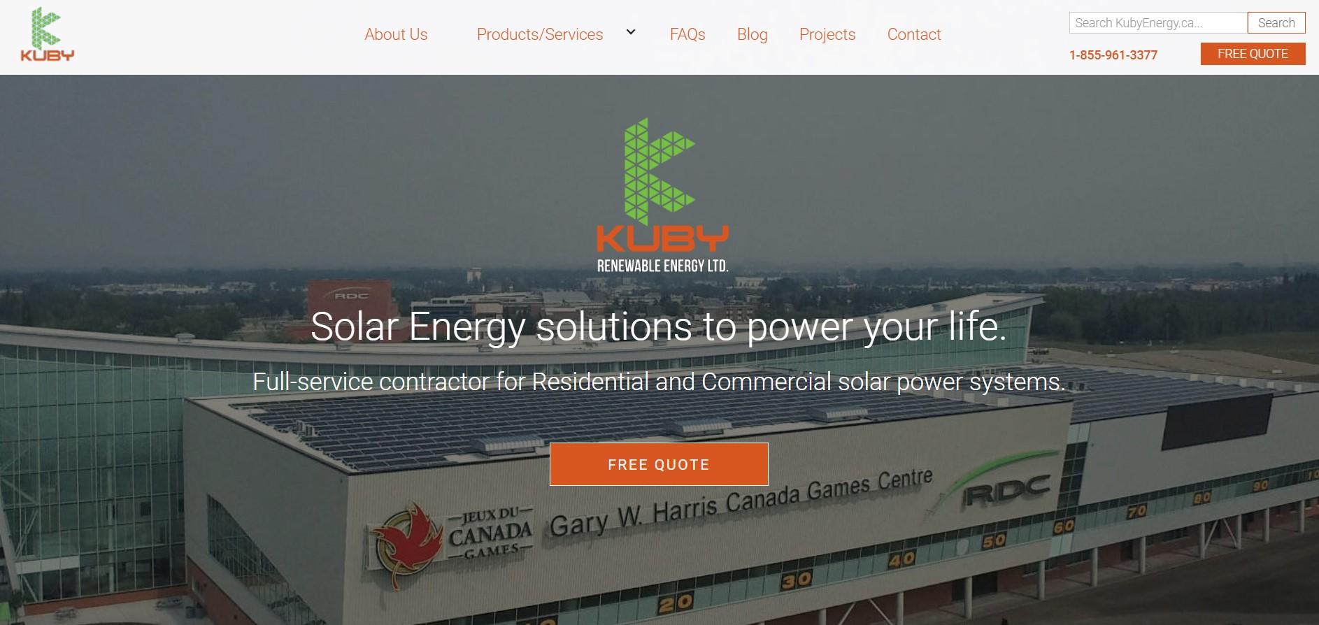 kuby renewable solar energy contractor in edmonton