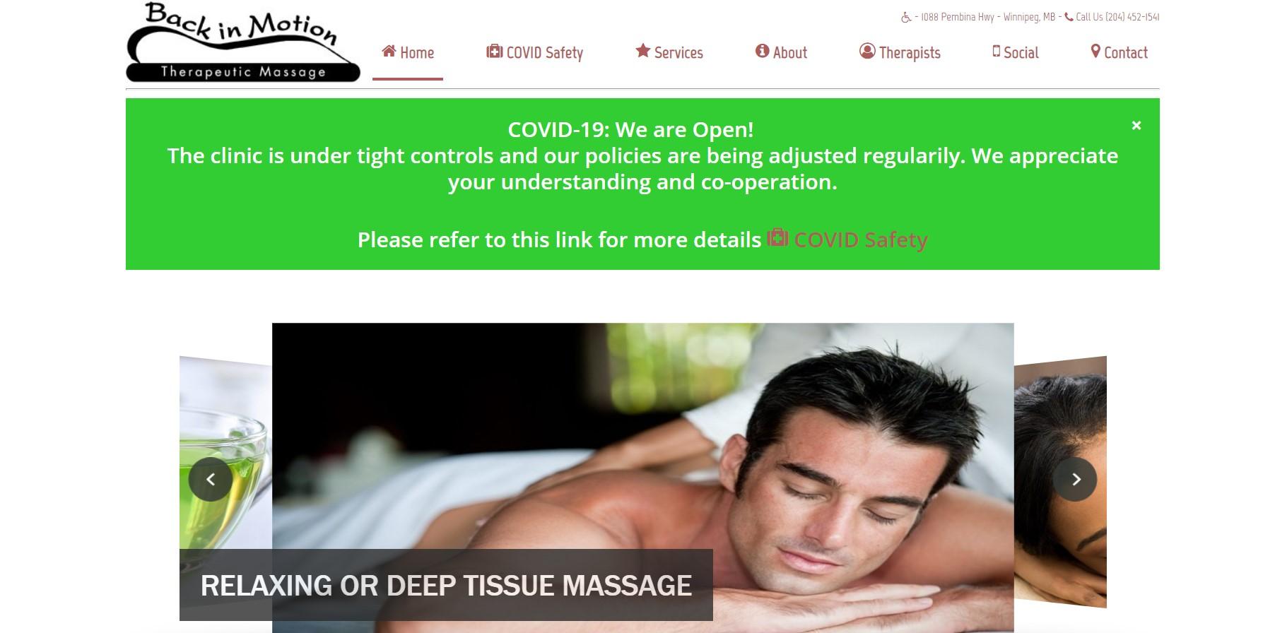 back in motion sports massage clinic in winnipeg
