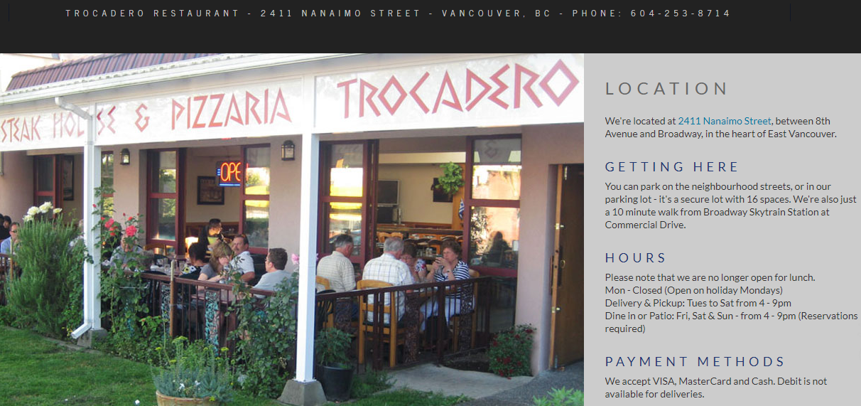 Trocadero Pizza & Steak House