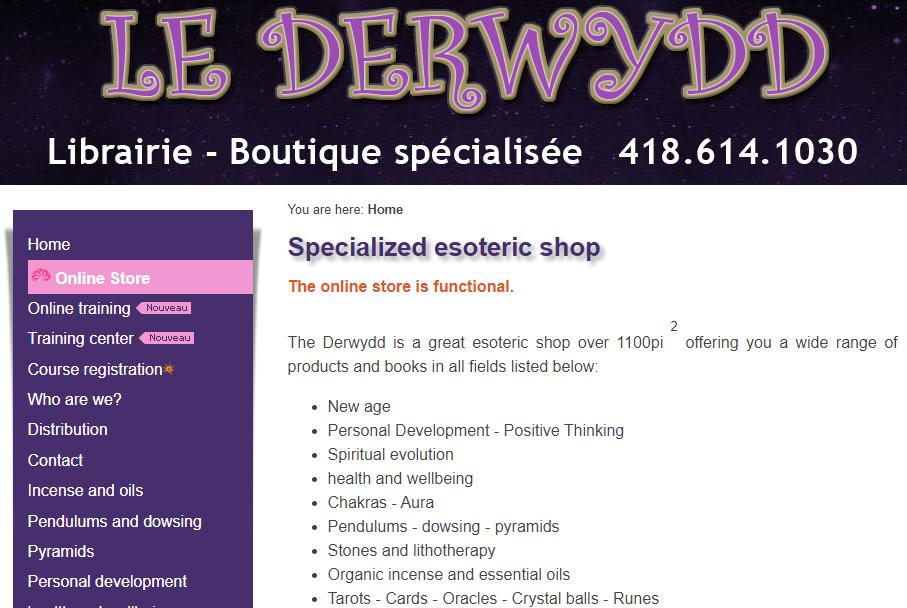 Librairie ésotérique Le Derwydd